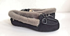 UGG SOLANA BLACK SHEARLING LINED LOAFER SLIP ON SHOES