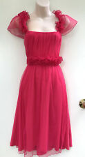 CHARLIE BROWN Hot Pink Party/Evening/Formal Tulle Overlay Dress w Belt sz 16
