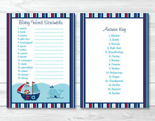 Nautical Pirate Whale Baby Shower Baby Word Scramble Game Cards Printable