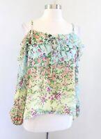 Yumi Kim Adore Me Fleur Melody Floral Cold Shoulder Ruffle Top Blouse Size XS