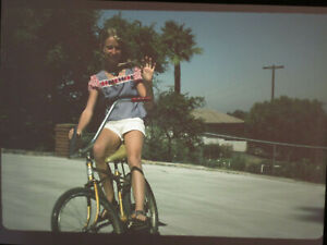 1975 35mm Slide California Girl on Sears Spyder Muscle Bicycle Banana Seat B4