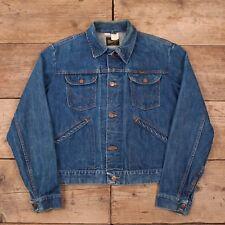 """Mens Vintage Wrangler 1970s Blue Denim Trucker Jacket USA Made Medium 40"""" R10386"""