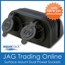 12V~24V DOUBLE SURFACE MOUNT DUAL POWER SOCKET ADAPTOR - Cigarette/Boat/Caravan