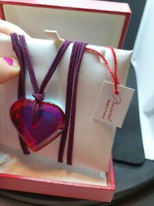 Baccarat Iridiscent Heart Pendant Cord Necklace