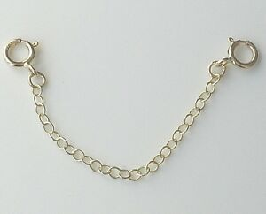 9ct Gold Extender Safety Chain 2 x Bolt Rings MULTI LENGTHS AVAILABLE