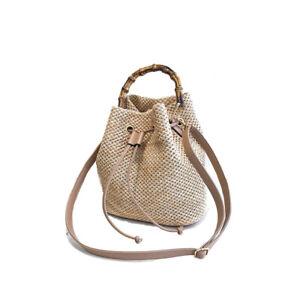 Stylish Draw String Straw Handbags Tote Bench Travel Rttan Women's Shoulder Bags