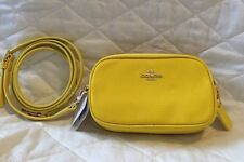 New Mini COACH Yellow Leather Double Zip 53034 CROSSBODY POUCH -- $150 RETAIL