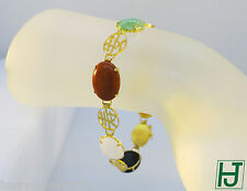 Multi-Color Jade Link Bracelet with Chinese Lucky Characters in 14k Yellow Gold