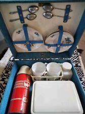 More details for vintage picnic set | vintage 50s brexton 2 person blue picnic set, picnic hamper