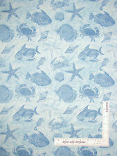Sea Shell Crab Seahorse Cotton Fabric Blue Wilmington Seaside Wonders ~ Yard