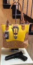 Montana West Buckle Concealed Handgun Collection Handbag Yellow.