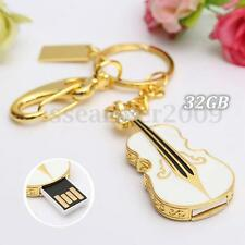 32G 32GB USB 2.0 Crystal Violin Flash Drive Memory Stick Pen Thumb U Disk Gift