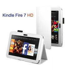 White - Leather Case for Amazon Kindle Fire 7 HD, Stylus Pen & Screen Protector