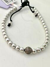 18k White Gold & Brown Diamond 0.17 Tcw Bead on Silk String Bracelet
