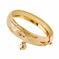 Lovely Jewelry Gold Plated Heart Bracelet Bell Baby Kids Bangle