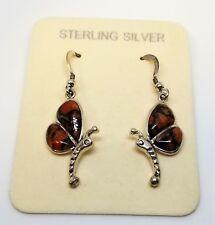 Jasper Dragonfly Earrings Sterling Silver 925 Brecciated