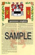 GAMMON Armorial Name History - Coat of Arms - Family Crest GIFT! 11x17