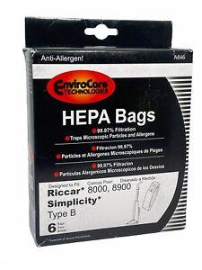6 Vacuum Bags, RICCAR HEPA Type B for 8000 & 8900 Series. Part A846