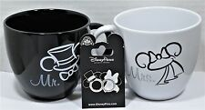 Disney Mr & Mrs Mickey & Minnie Ears Coffee Mug Cup With Pin Combo Set NEW CUTE