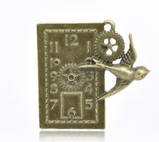 1 Pcs Antique Bronze Swallow Clock Charm Pendants 41x39mm LC1902
