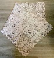 Vintage Hand Crocheted Table Runner, Dresser Scarf, Beige, Cotton, Flower Design