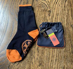 Tory Burch Wool Travel Socks - Blue  / Orange w/ Travel Pouch New