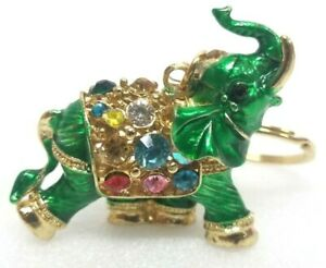 Elephant Gold Key Metal Chain with Stones - GREEN