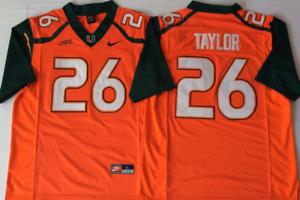 Men's Miami Hurricanes Orange #26 TAYLOR Stiched Custom Jersey