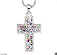 "Cross W Swarovski Crystal God Jesus Christ Lord Multi Color 18"" Chain Necklace"
