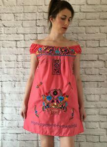 Handmade Womens Coral Pink Embroidered Mexican Dress Size Medium Vestido Bordado