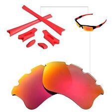 Walleva Polarized Fire Red Vented Lenses and Rubber Kit 4 Oakley Flak Jacket XLJ