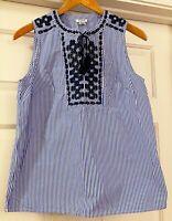 NEW J.Crew Blue White Womens Sleeveless Embroidered Tassel Shirt Top size 2 XS