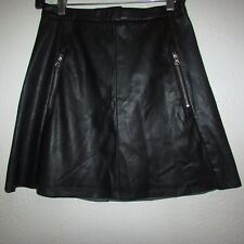 NWT H&M Black Faux Leather Skirt - Size 6 - Front Zipper