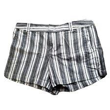 New York & Company Shorts Size 10 Gray White Striped Womens Summer Short Chino