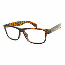 TORTOISE SHELL Frame Brown Retro Geek Non Prescription Clear Lens Eye Glasses