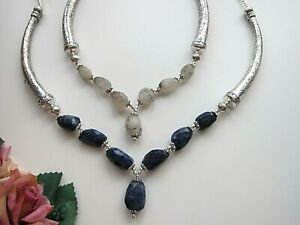 Black Rutilated Quartz or Blue Sapphire Fireformed Gems Necklace.