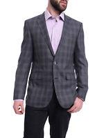 Mens 40R Napoli Slim Fit Blue & Gray Plaid Half Canvassed Silk Wool Blazer Sp...