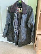 Stunning Barbour Black And Olive Green Rose Printed Wax Jacket Size 12