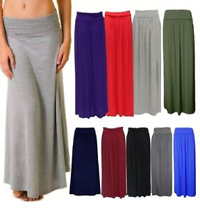 Womens Plain Pleated Fold Over Waist Jersey Gypsy Long Maxi Skirt Plus Size 8-26