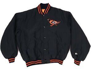 Orioles Large Starter Jacket Black Logo Usa Made Mens Size L Nylon MLB w/Orange