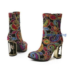 Women Chic Floral Zip Block Heels Ankle Boots Party Rhinestone Winter Shoes Plus
