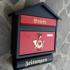 XXL Briefkasten Postkasten Schwarz Rot Matt +Zeitungsfach Wandmontage Nostalgie