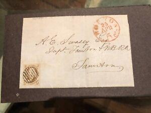 U S #1 1847 BOSTON-TAUNTON, MAG BLACK GRID CANCEL PF CERTRED BROWN EX;DR.CHASE