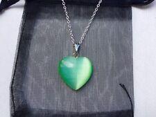 "Green QUARTZ HEART PENDANT - 18"" SILVER Chain Necklace - Silk Pouch - GIFT"