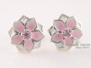 MAGNOLIA BLOOM Authentic PANDORA Pink FLOWER Earring Studs 290739PCZ NEW w POUCH