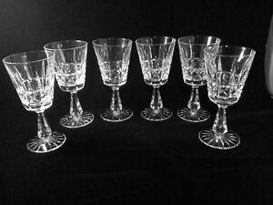 "SIX (6) WATERFORD CRYSTAL KYLEMORE 6"" CLARET WINE SHERRY GLASSES IRELAND SIGNED"