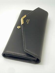 Women Ladies Faux Leather BiFold Long Wallet Purse Card Holder Clutch Black Blue