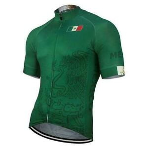 Team Mexico Green Men's Short Sleeve Cycling Jersey Bike Pro Clothing Bicycle