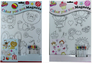 Colour Your Own Magnets Arts Craft Children Cut Fridge Creativity 10 Magnets