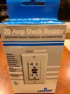 Leviton Shock Resistor Ground Fault Circuit Interrupter GFCI Wall Plug Ivory NEW
